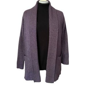 Angora blend open front cardigan with Lurex M